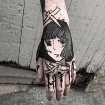 dark anime girl cool fake tattoo