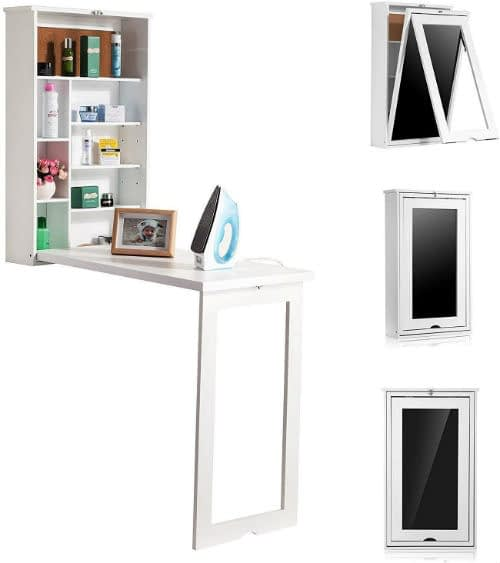 Fold-Out Wall Mounted Desk and Shelf Unit