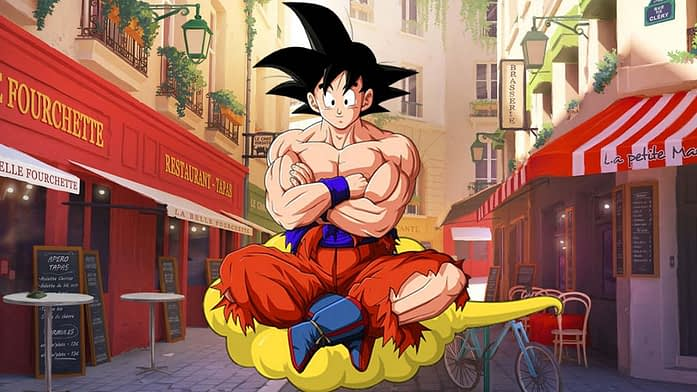 Grinning Goku in Dragon Ball Anime
