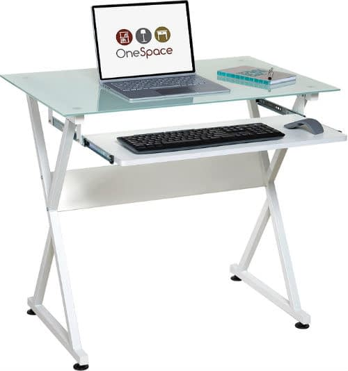 Compact Tempered Glass Computer Desk